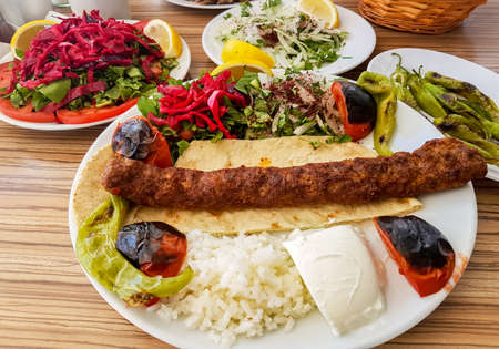 Traditional Delicious Turkish foods; Adana Kebab, Grilled meat Stock Photo