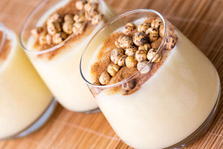 Boza or Bosa, traditional Turkish drink with roasted chickpea Boza or Bosa, traditional Turkish drink with roasted chickpea Stock Photo
