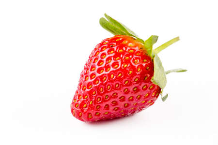 The strawberries with strawberry leaf on white background.