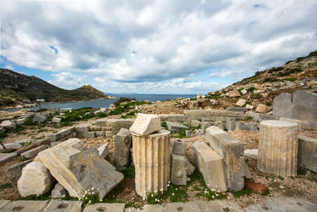 Ancient Ruins in the ancient city of Knidos. Landscape with ancient ruins. Mugla / Datca / Turkey