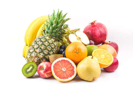 Fresh mixed fruits.Fruits background.Healthy eating, dieting.Love fruits, clean eating. Archivio Fotografico