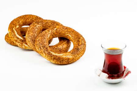 Traditional Turkish bagel; Turkish bagel and Turkish tea Stock Photo