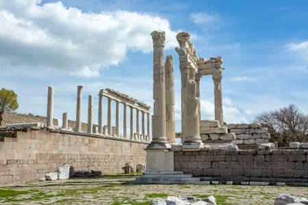 Temple of Trajan in ancient city Pergamon, Bergama, Turkey in a beautiful spring day