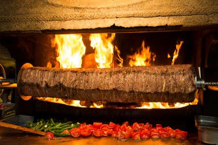 Traditional delicious Turkish foods; Doner kebab, cag kebab Standard-Bild