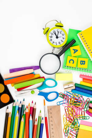 School and office equipment. Colorful stationery materials.
