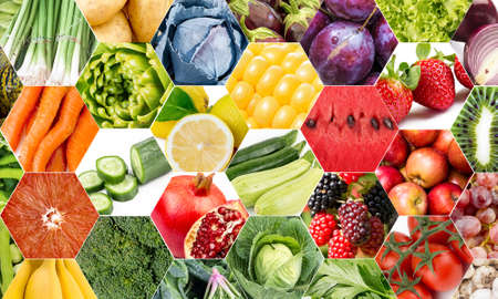 Color fruits and vegetables. Fresh food. Concept. Collage