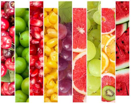 Color fruits and vegetables. Fresh food. Concept. Collage Foto de archivo
