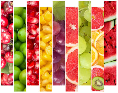 Color fruits and vegetables. Fresh food. Concept. Collage Stock Photo
