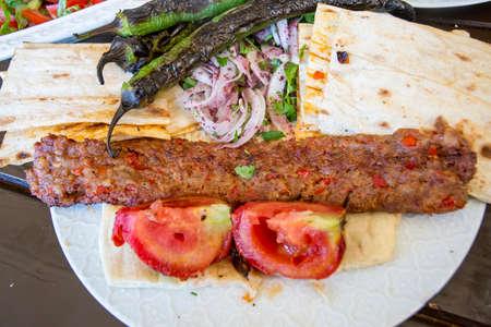 Traditional Turkish foods; Adana kebab, grilled meat