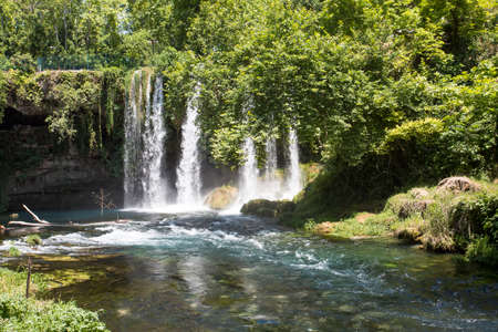 Turkey Antalya Duden Waterfall ladscape. Spring season.