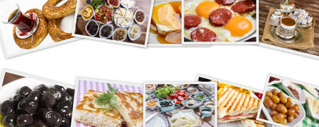 Traditional Delicious Turkish breakfast collage. Travel concept: setup with traditional turkish breakfast