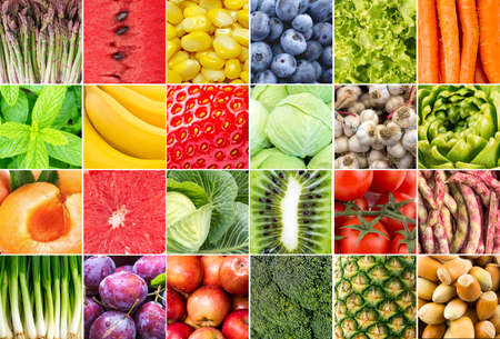 Fresh organic various vegetables and fruits collage