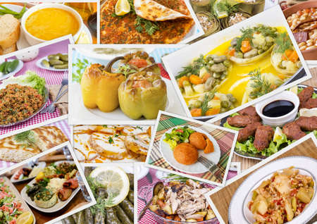 Traditional Delicious Different Turkish foods collage. Rich menu. Imagens