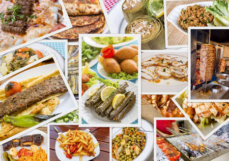 Traditional Delicious Different Turkish foods collage. Rich menu.