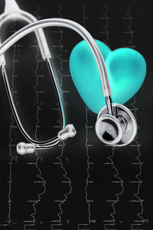 Stethoscope and red heart Heart Check.Concept healthcare.