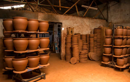 Terracotta pots. Artistic brown pottery from mud. Stock fotó