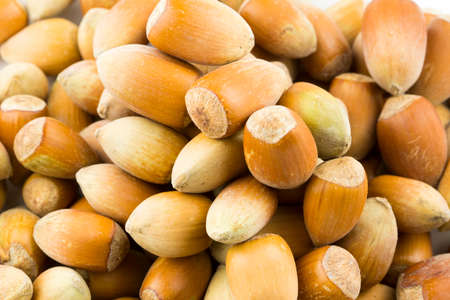 Hazelnuts. Stack of hazelnuts. Food background. Hazelnut background