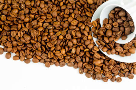 Turkish coffee on the white background. Coffee beans Stock Photo