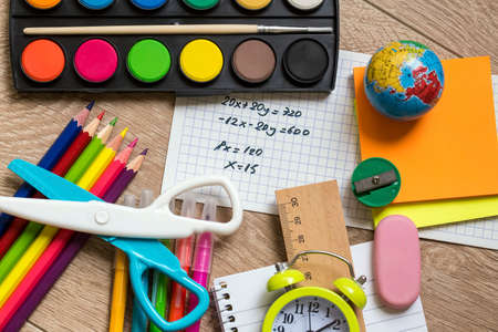School and office equipment, stationery materials. Colorful stationery. Stock Photo