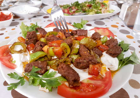 Traditional delicious Turkish foods; Manisa kebab / grilled meatball