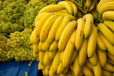 Fresh fruits; banana grocery market. Healthy nutrition.