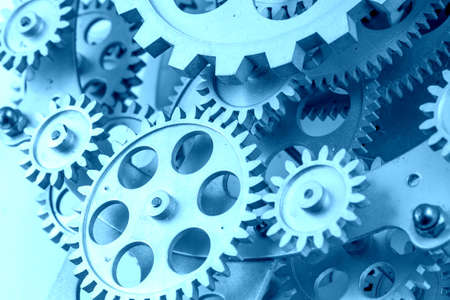 Close view of old clock mechanism with gears and cogs. Conceptual photo for your successful business design. Copy space included. Banque d'images