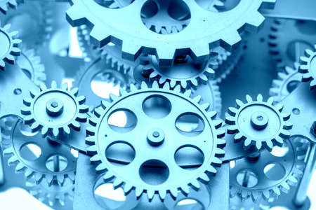 Close view of old clock mechanism with gears and cogs. Conceptual photo for your successful business design. Copy space included. Foto de archivo