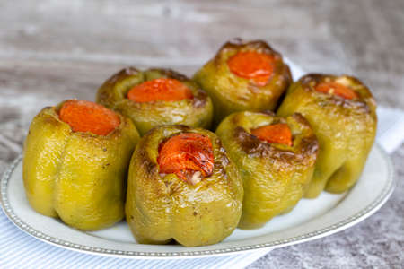 Traditional delicious Turkish foods; stuffed pepper (Stuffed pepper)