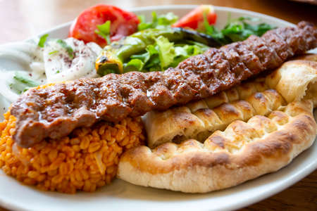 Traditional delicious Turkish foods; grilled meat, Adana kebab