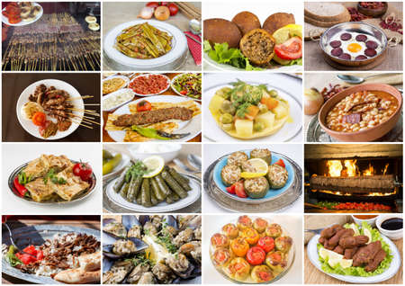 Traditional Delicious Turkish foods collage Stock fotó