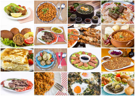 Traditional Delicious Turkish foods collage