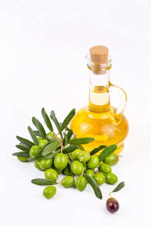 Green olive and olive oil Zdjęcie Seryjne