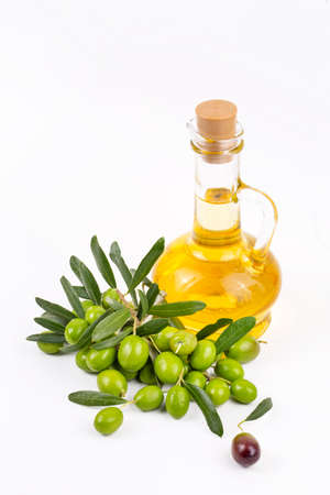 Green olive and olive oil Stock fotó