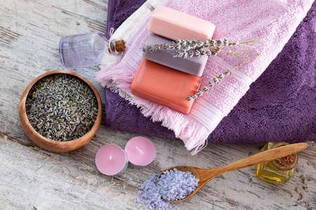 Dried lavender flowers and lavender soap Foto de archivo