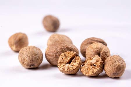 Nutmeg spice isolated on the white background