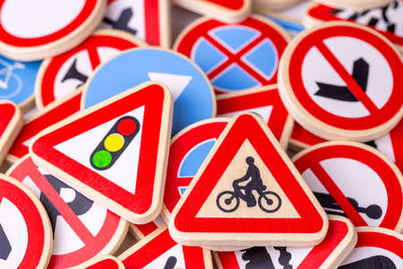 Different colored traffic signs in the warehouse Stok Fotoğraf
