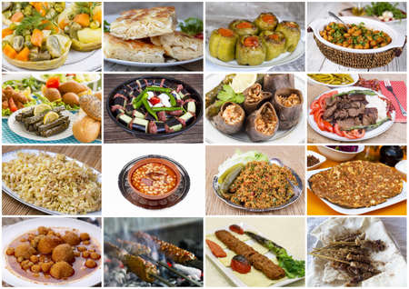 Traditional delicious Turkish foods collage Stock Photo