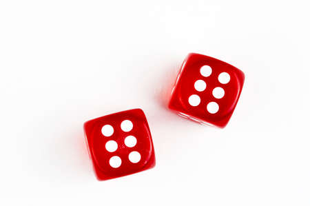 Red dice isolated on the white background Foto de archivo