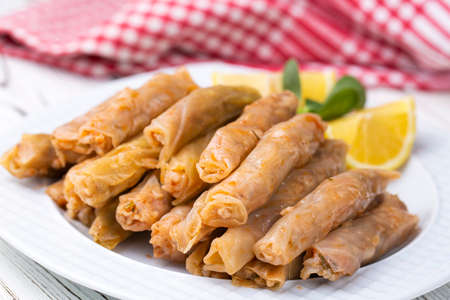 Cabbage Sarma, Turkish traditional food, a boiled cabbage leaf that is formed into a roll with a stuffing of rice