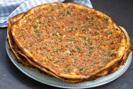 Traditional delicious Turkish foods; Lahmacun (Turkish pizza)