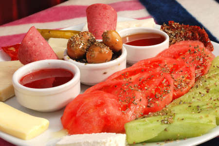 Turkish breakfast plate 免版税图像
