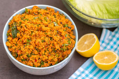 Traditional delicious Turkish foods; bulgur salad (kisir)