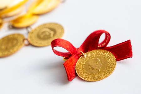 Traditional Turkish gold coins (Turkish name; Ceyrek altin) Stock Photo