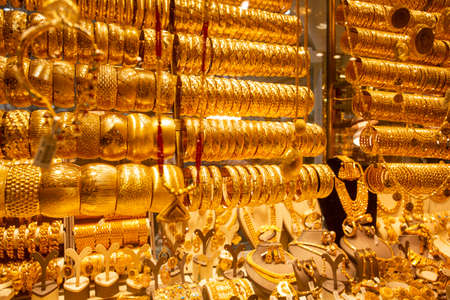 Glamorous golden bracelet selling in grand bazaar market.