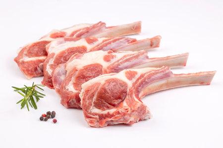 Raw lamb chop, food concept photo
