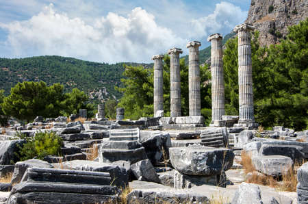 Ruins of the Temple of Athena of Ancient Greek City of Priene, Turkey / Aydin