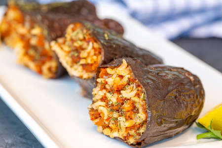 Traditional delicious Turkish foods; dried eggplant stuffed 免版税图像