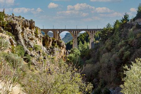 Historical Varda Bridge, Turkey / Adana. Travel concept photo. 免版税图像