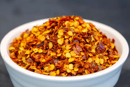 Turkish dried red pepper on the black background 免版税图像