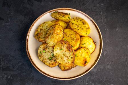 Delicious baked potato with green garlic